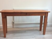 Beautiful handmade solid wood console table with single drawer