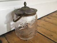 Antique Circa Victorian Glass Storage Jar Sweet Jar Biscuit Barrel