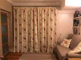 Pair of Dunelm high quality lined + interlined curtains with tie backs and cushion covers to match