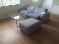 Sofa, coffee table and footstool - for sale. Must be collected this weekend!
