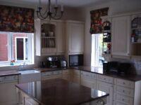 Complete Elizabeth Ann cream kitchen and appliances.