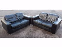 HARVEYS 2 X TWO SEATER BLACK LEATHER SOFA SUITE GOOD CONDITION (I CAN DELIVER TODAY)