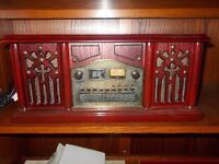 Retro Prolectrix 4 in 1 Music System CD/Radio AM&FM/Cassette/Record Player- Wooden - Mahogony