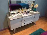 Vintage style solid wood sideboard unit dresser painted grey & silver.