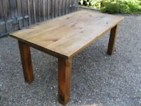 LARGE PINE TABLE. Also for sale : OLD CHURCH PEWS, MONKS BENCH & SETTLE.