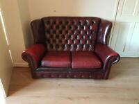 2 piece suite 3 & 2 seater chesterfield high back WINGBACK sofas genuine leather oxblood