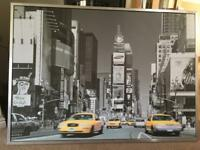 IKEA large New York taxi print with metal frame