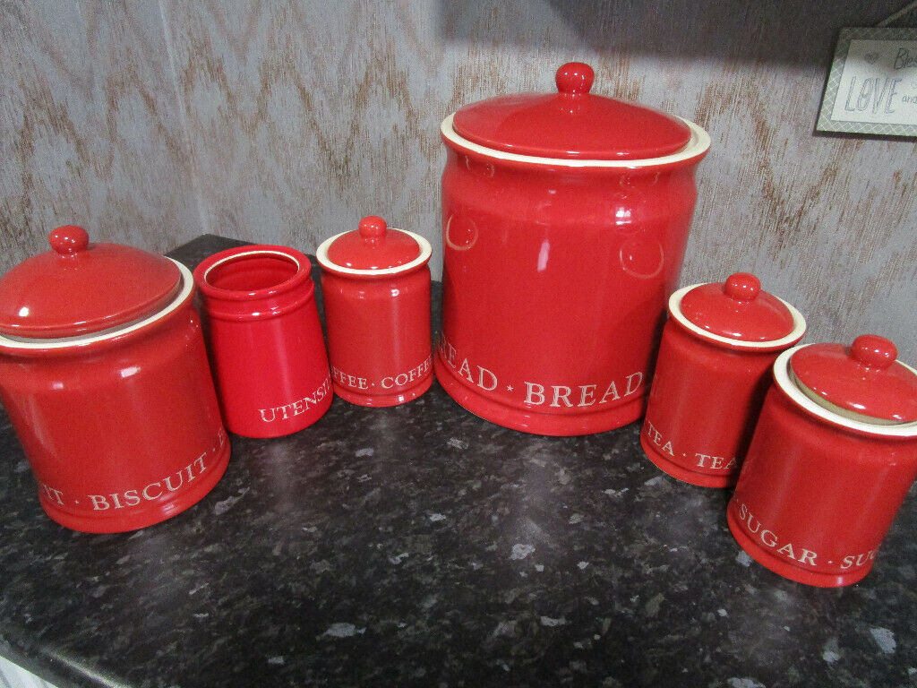 6 Piece Kitchen Storage Containers Red Pottery