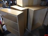 Four short Billy Ikea shelving units in birch. Price is for set of four