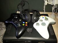 xbox 360 console with 2 controls & headset