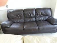 3 seater dark brown leather sofa