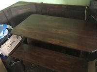 Wood Corner table and bench