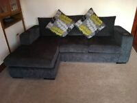 Grey chenille 3 seater right hand corner sofa, 2 seater sofa and footstool with storage