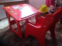 Children's hand made desk and table, stickers added on later by our child.