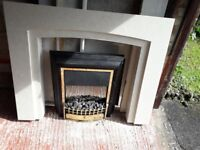Two year old electric fire and solid marble surround