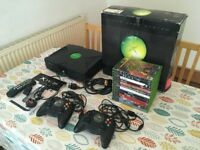 XBOX ORIGINAL BOXED w/ 2 CONTROLLERS + 14 GAMES + DVD REMOTE + CABLES + MANUALS