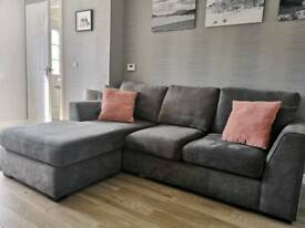 DFS grey chaise 3/4seater