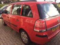 Vauxhall zafira 1.6 life 2006 55 reg mpv 7 seater bright red black interior fsh long mot