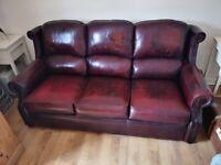 3 seater Thomas Lloyd Antique Oxblood Leather sofa.