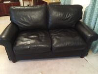 Laura Ashley dark brown leather two seater sofa