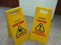 WET FLOOR CLEANING IN PROGRESS WET FLOOR YELLOW APEX BENTLEY SIGN DOUBLE SIDED BARGAIN @ £20 PAIR