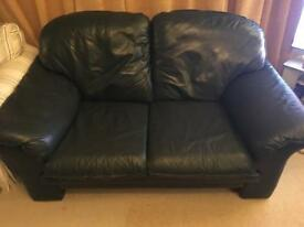 2 Seater Dark Green Leather Sofa