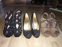 Various size 5 high heels - Ted Baker, River Island, Topshop