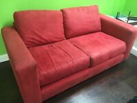 Free Red suedette 2 seater sofa