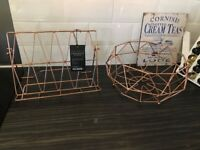 Rose Gold/ Copper wire fruit bowl and cookbook stand by Vertex