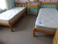 2 single mattresses. 3' wide. Bought new 6 months ago. One unused, one used for one week. £50 each