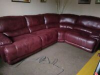 The Guvnor Reclining, Faux Leather, Corner Sofa in Red