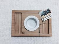 High Quality Solid Wood - Snack Block/ Plate/ Tray With Ceramic Saucer