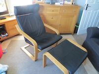 Real Leather IKEA Poang Chair and Footstool