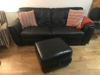 DFS real leather sofa and footstool