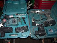 4 Cordless drills one never used new,All with cases and chargers,Delivery available