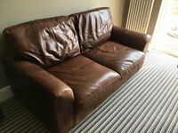large 2 seater brown leather sofa