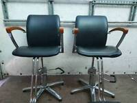 Two vintage barber chairs