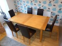 Dining Table(Marks & Spencer Sonoma- Extending), 6 Leather Chairs, Coffee Table-Excellent Condition