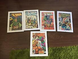 Framed Marvel Comic Covers x 5 X-Men, Fantastic Four, The thing