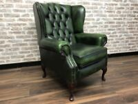 Antique Green Chesterfield Queen Anne Wing Chair