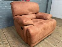 SUEDE FABRIC FULLY RECLINER SOFA ARM CHAIR IN EXCELLENT CONDITION
