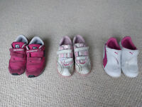Bundle of 3 Girls Trainers, Size 8.5 and 9, New Balance, Clarks, Puma