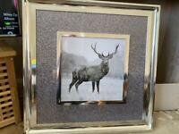"""Mirror Framed Silver Glitter """"Stag"""" wall art in Silver Frame"""