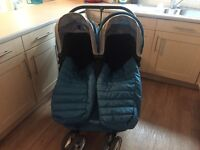 Mini city jogger double pram immaculate! Matching cosy toes and rain cover