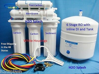 6 Stage RO+DI Reverse Osmosis System 80 GPD membrane Water Filter Storage Tank