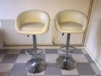 White/Caramel Leather Spinning Chairs 2x