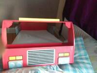 Wooden toddler fire engine bed