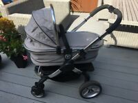 iCandy Peach 2 Pushchair & Carrycot (single) with parasol and footmuff - silver mint
