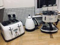 delonghi kitchen set bundle whie brilliante toaster kettle coffee machine