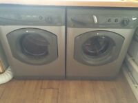 Hotpoint silver washing machine and matching dryer